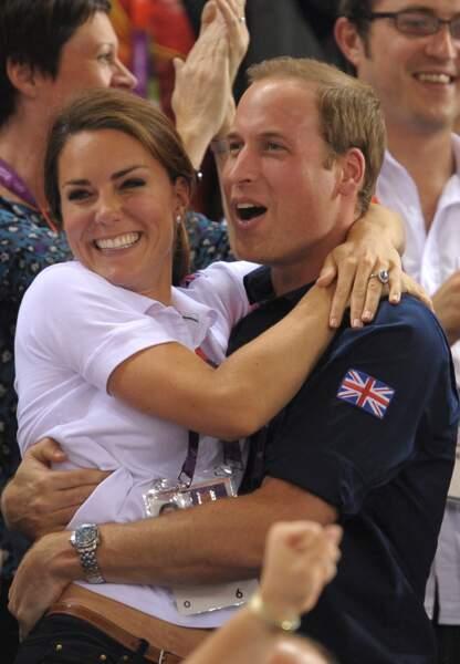 Le couple laisse éclater sa joie après une nouvelle victoire de la délégation britannique aux JO