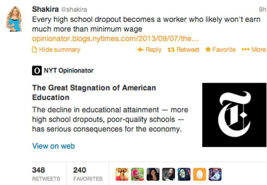 Shakira parle de choses très sérieuses sur Twitter: l'éducation des enfants à travers le monde