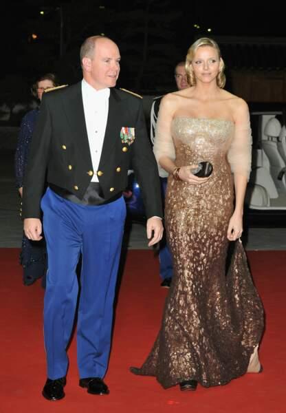 Charlène de Monaco en Armani Privé lors du Gala de la Fête Nationale