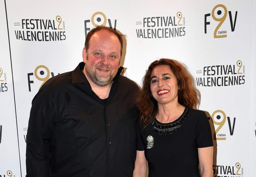 Le comédien Grégory Gadebois et la maîtresse de cérémonie, la journaliste Guillemette Odicino
