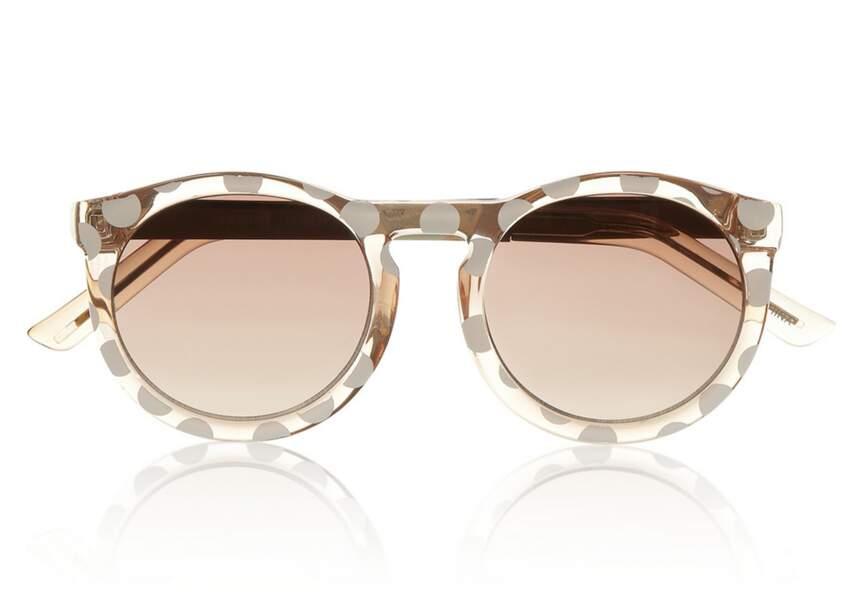Le Specs, Lunettes de soleil en acétate à monture ronde à pois Cheschire, 48€ En exclusivité sur net-a-porter.com