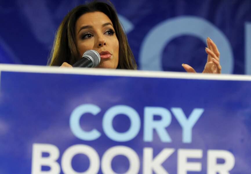 Eva Longoria est montée en tribune pour soutenir le candidat au Sénat Cory Booker