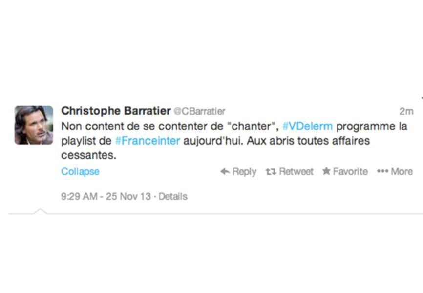 Début de semaine musclé pour @cbarratier qui ne mâche pas ses mots sur Vincent Delerm...