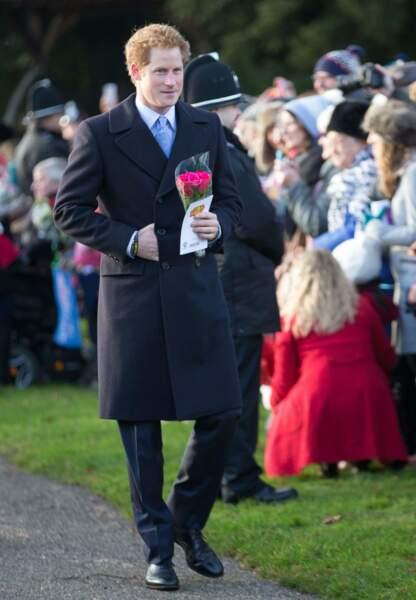 Le prince Harry à son arrivée à l'église