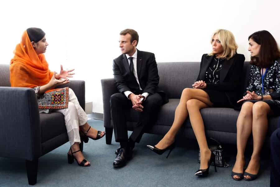 Brigitte et Emmanuel Macron avec Malala Yousafzai, prix nobel de la paix