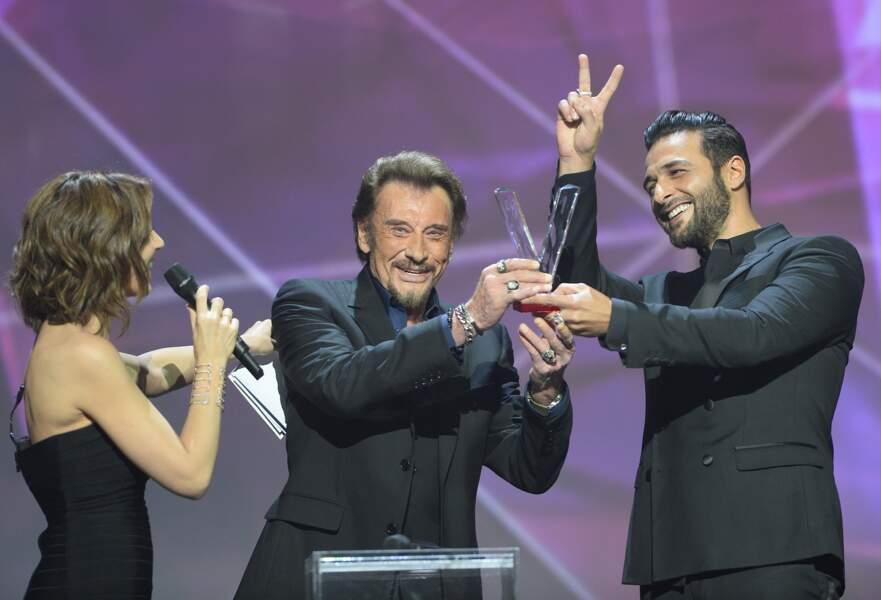 Virginie Guilhaume, Johnny Hallyday et Maxim Nucci aux Victoires de la Musique en 2016