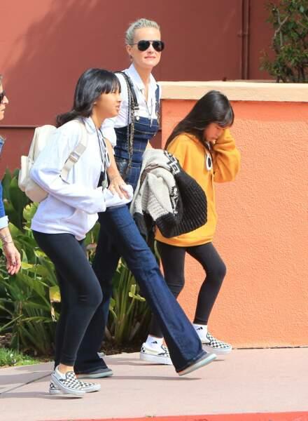 Laeticia Hallyday avec Jade et Joy