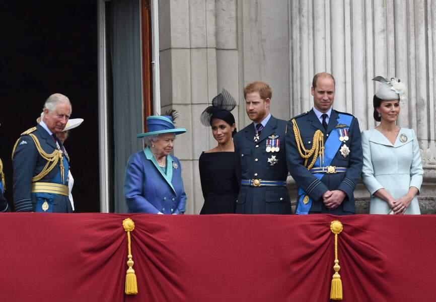 La famille royale lors de la parade pour le 100e anniversaire de la Royal Air Force, le 10 juillet 2018