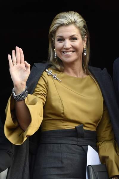 La reine Maxima à l'entrée du Palais Royal d'Amsterdam, le 17 janvier 2017