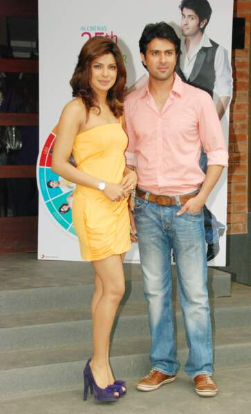"Priyanka Chopra et Harman Baweja en 2009 à l'occasion de la sortie du film ""What's Your Raashee"""