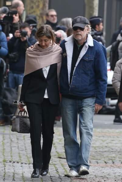 Avec Ingrid Betancourt, aux obsèques de Michel Delpech à Paris, le 8 janvier 2016