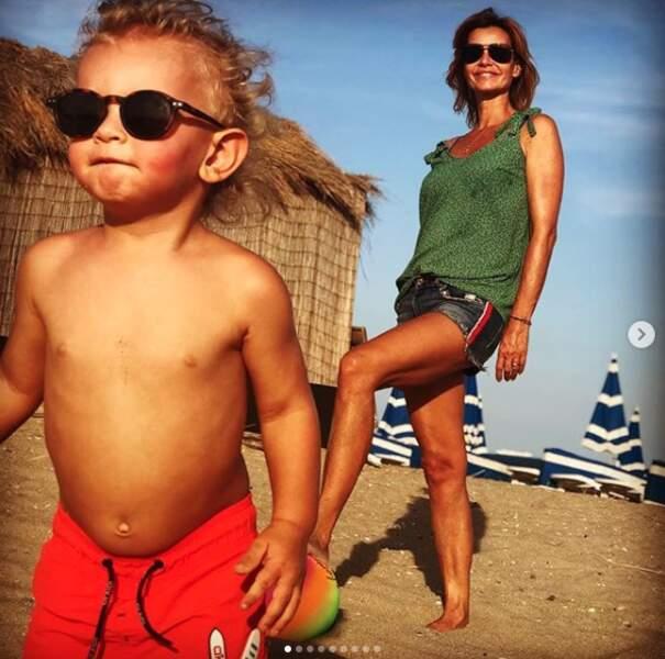 Ingrid Chauvin avec son fils Tom, le 24 septembre
