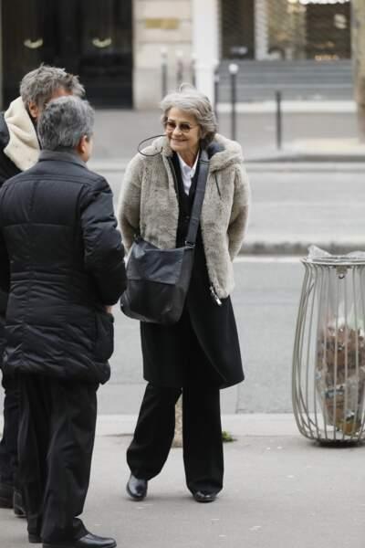 Charlotte Rampling aux obsèques de Henry Chapier en l'église Notre-Dame des Champs à Paris le 4 février 2019