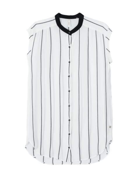 Rayée, chemise sans manche ICode, 80 € (icode.fr)