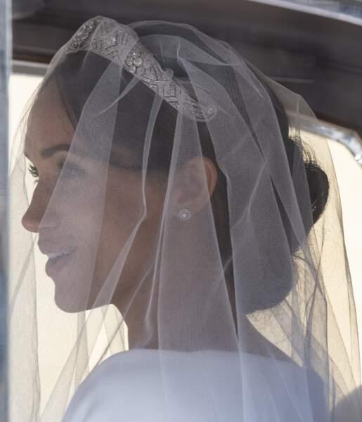 Meghan Markle à son arrivée à la chapelle St. George au château de Windsor lors de son mariage le 19 mai 2018