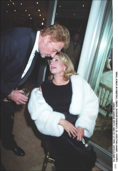 Johnny Hallyday et Catherine Deneuve, en 1999.