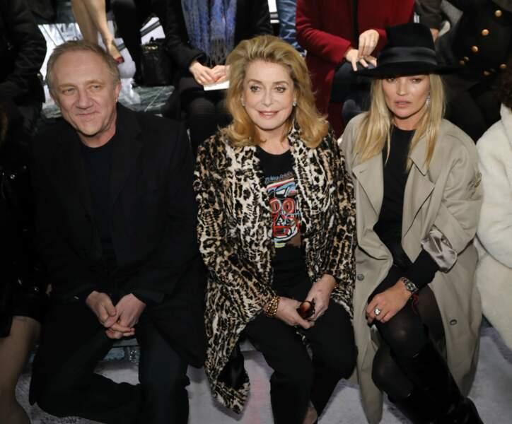 François Henri Pinault, Catherine Deneuve et Kate Moss installés au front row pour le défilé Saint Laurent