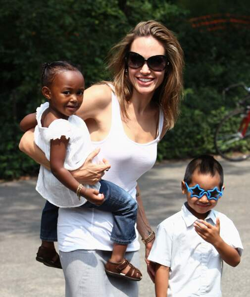 Angelina Jolie avec Zahara et Maddox à New York en 2007