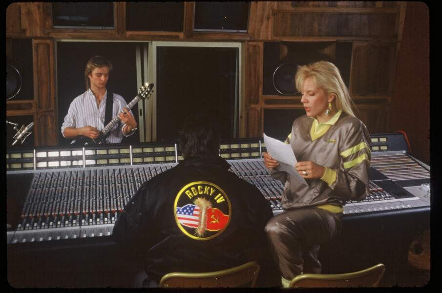 Sylvie Vartan en studio avec son fils David Hallyday en 1985