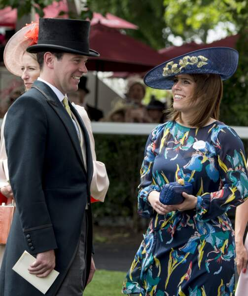a princesse Eugenie d'York et son fiancé Jack Brooksbank assistent aux courses du Royal Ascot 2017