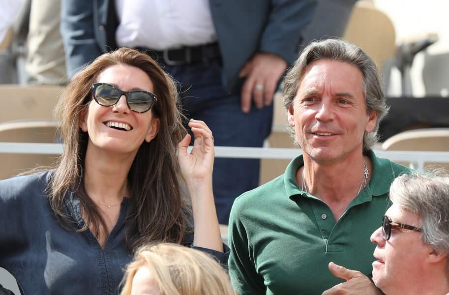Anne-Claire Coudray et son mari Nicolas Vix sous le soleil de Roland Garros, le 3 juin 2019.