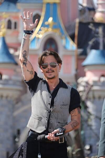 """Johnny Depp à Disneyland Paris le 15 mai 2017 pour la sortie de """"Pirates des Caraibes : La vengeance de Salazar"""""""