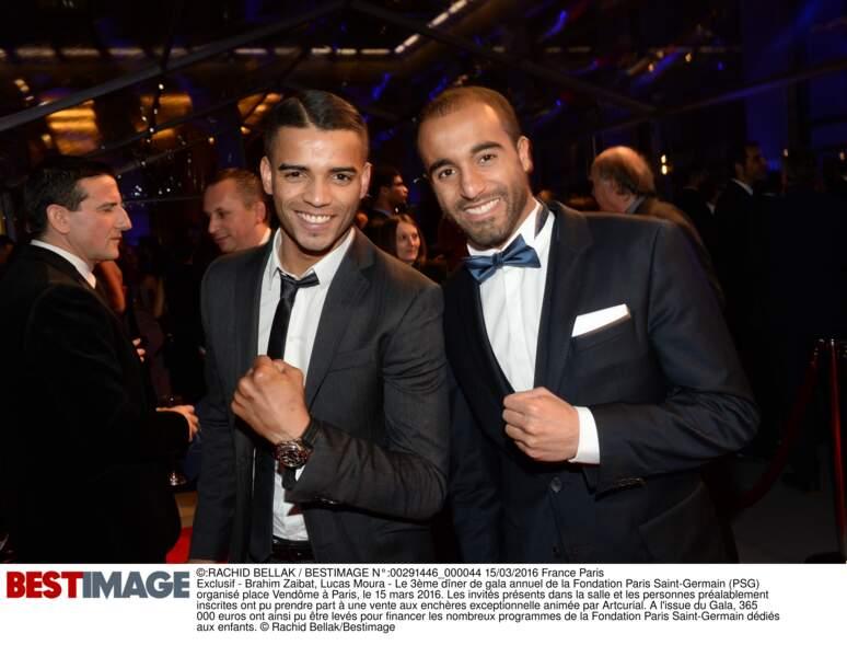 Brahim Zaibat et Lucas Moura (en Hugo Boss)