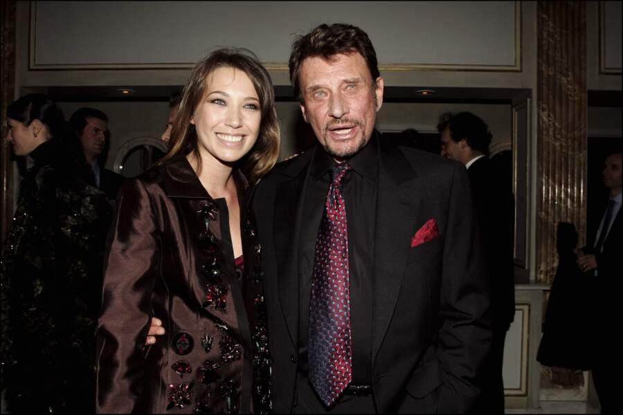 Johnny Hallyday et Laura Smet lors du Sidaction à Paris, en 2005
