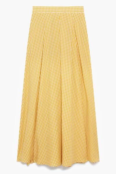 Jupe longue petit vichy jaune et blanc, 95 €, Caroll.