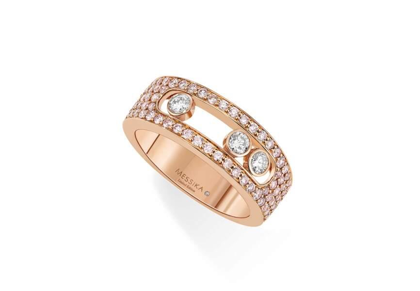 Bague Move Joaillerie, pavé diamants roses, Messika, 9940€