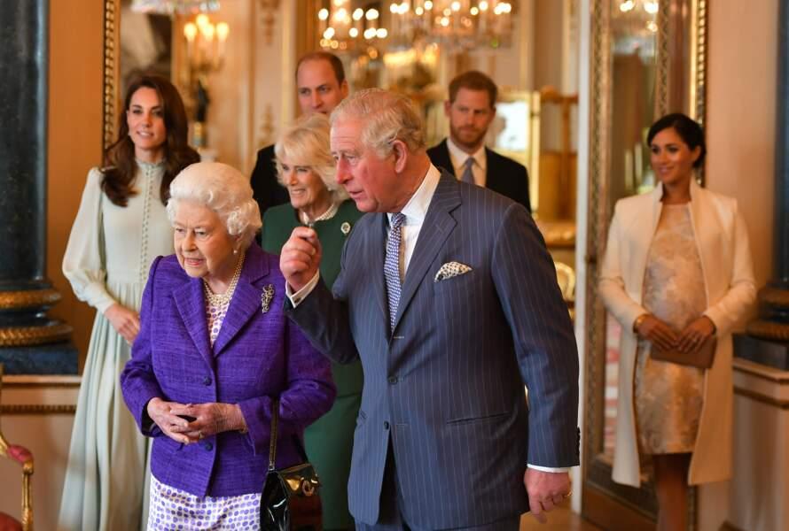 La famille royale lors des 50 ans de l'investiture du prince de Galles, le 5 mars 2019 à Buckingham