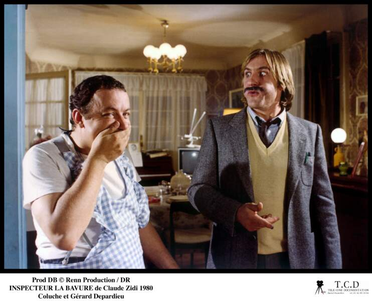 """Coluche et Gérard Depardieu dans """"Inspecteur La Bavure"""" de Claude Zidi"""