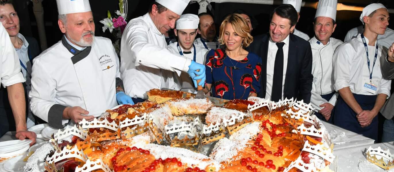 Lors de la cérémonie des voeux, le couple a dégusté la galette présentée par des enseignants et des apprentis