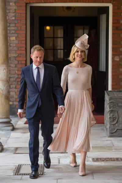 Guy Pelly et sa femme Lizzy arrivent à la chapelle pour le baptême du prince Louis