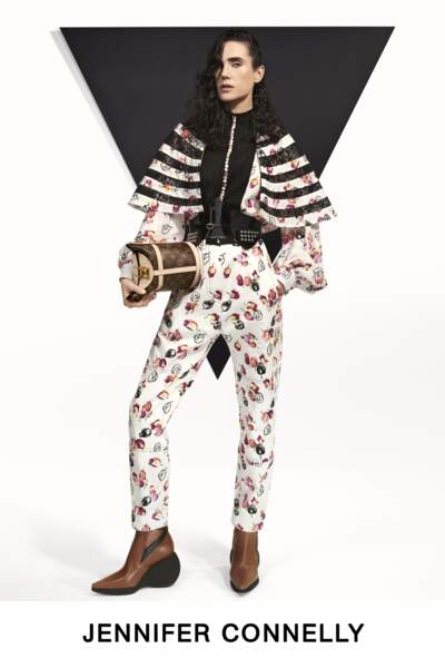Jennifer Connelly, actrice rock, voire punk, pour la collection Pre-Fall de Louis Vuitton.
