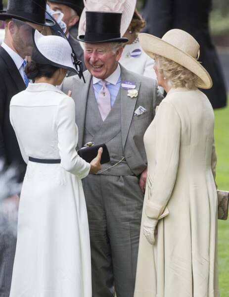 Harry, Meghan, Charles et Camilla lors du Royal Ascot 2018 à l'hippodrome d'Ascot le 19 juin 2018
