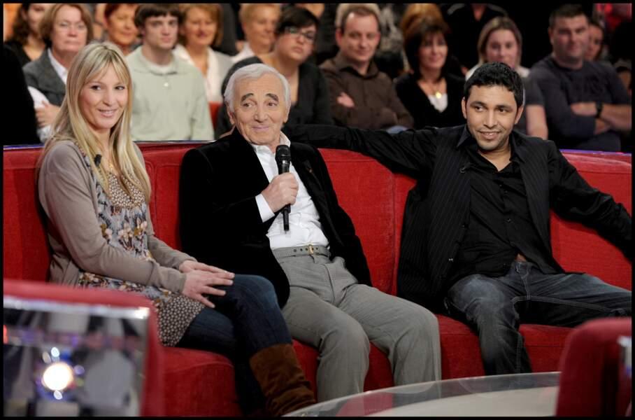 Charles Aznavour avec sa fille Katia et son gendre Jean Rachid, chez Michel Drucker, dans les années 2000.