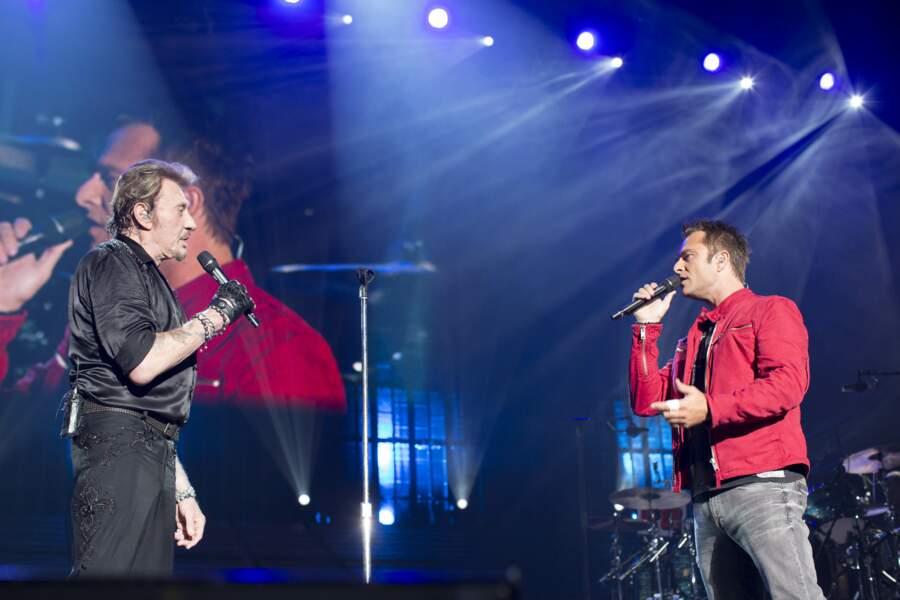 David Hallyday et Johnny Hallyday sur scène à Bercy en 2013