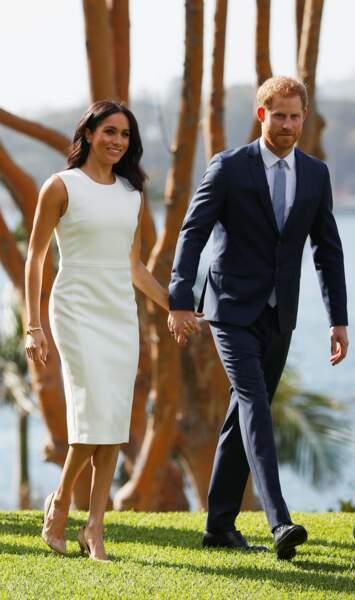 Meghan Markle et le prince Harry aux abords de l'Opéra de Sidney le mardi 16 octobre