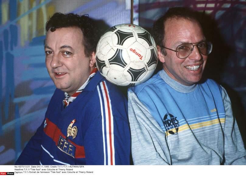 Coluche, supporter des Bleus, avec Thierry Roland