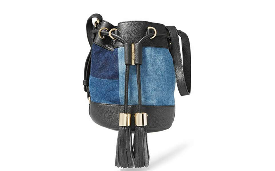 Sac seau en jean effet patchwork, See by Chloé, 325€