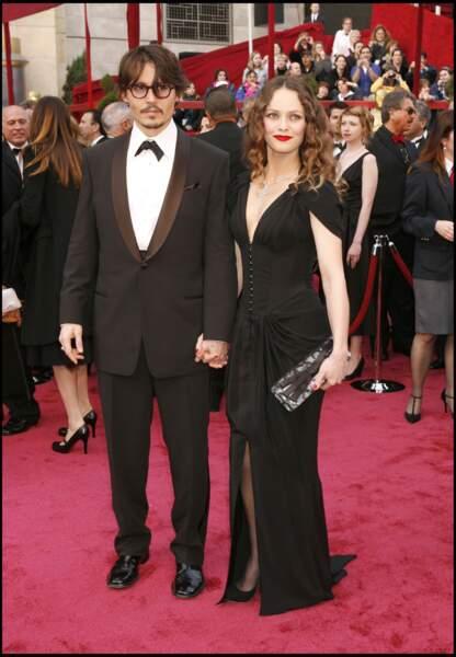 Johnny Depp et Vanessa Paradis à la 80e cérémonie des Oscars (2008)