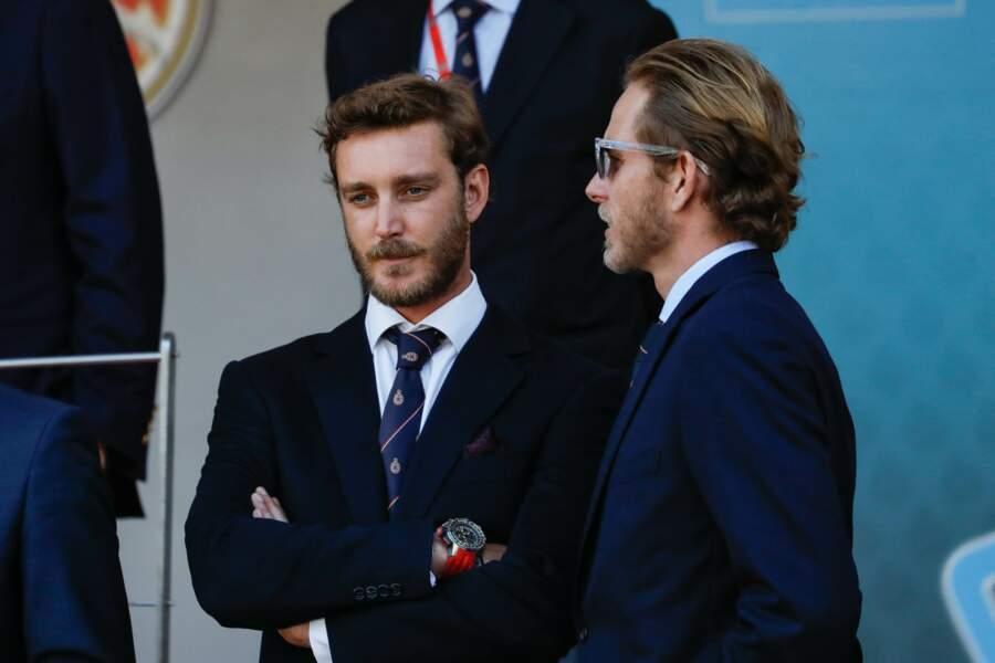 Les fils de Caroline de Monaco, Pierre et Andrea Casiraghi, lors du 3ème Monaco E-Prix ce 11 mai