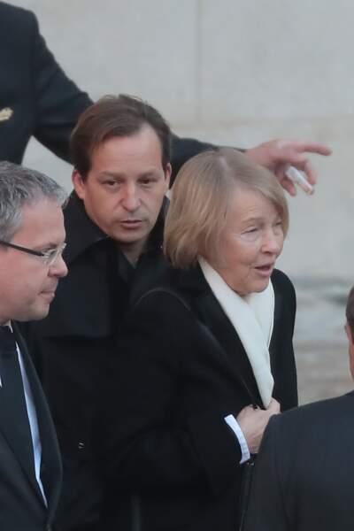 Mischa et Ulla Aznavour, le fils et la femme de Charles Aznavour, lors de l'hommage national qui lui était rendu