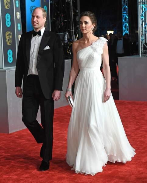 Le prince William et Kate Middleton arrivent à la 72ème cérémonie des BAFTA à Londres, le 10 février 2019.