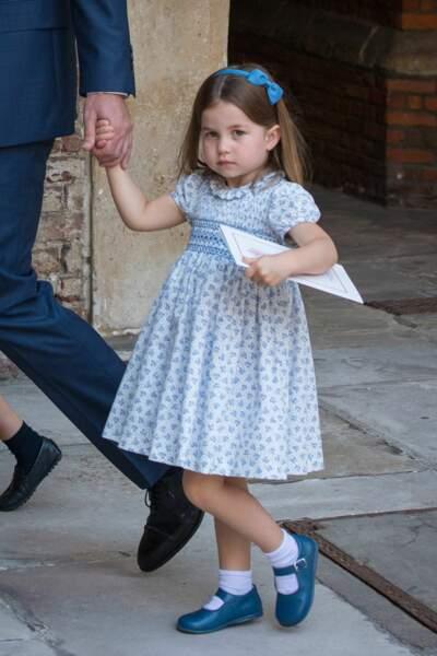 La princesse au baptême du prince Louis en la chapelle St James à Londres, le 9 juillet 2018