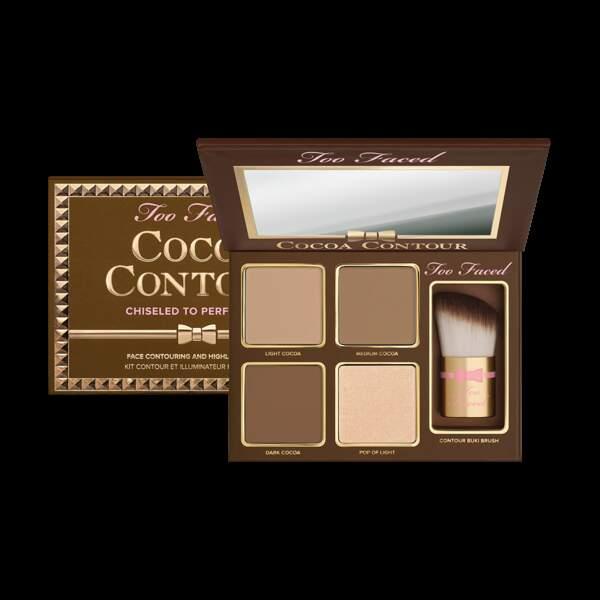 Kit contour et illuminateur Cocoa Contour Chiseled to Perfection, Too Faced, 40,50€