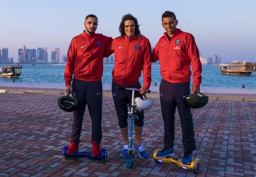 Edinson Cavani, Layvin Kurzawa et Marquinhos le long de la corniche de Doha