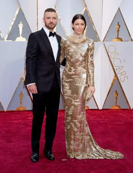 Jessica Biel et Justin Timberlake se présentent aux Oscars à Los Angeles