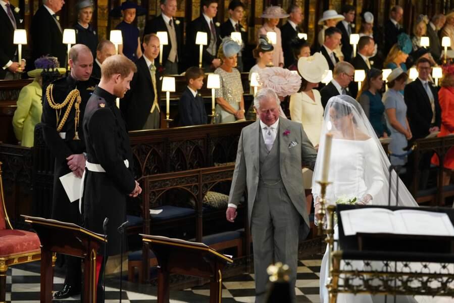 Le prince Harry, le prince Charles et Meghan Markle durant le mariage